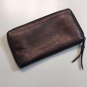ALL SAINTS Club Leather Zip Around Wallet
